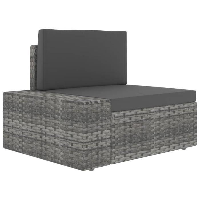 Canapé d'angle sectionnel Confortable- Contemporain Salon de jardin accoudoir droit Résine tressée Gris