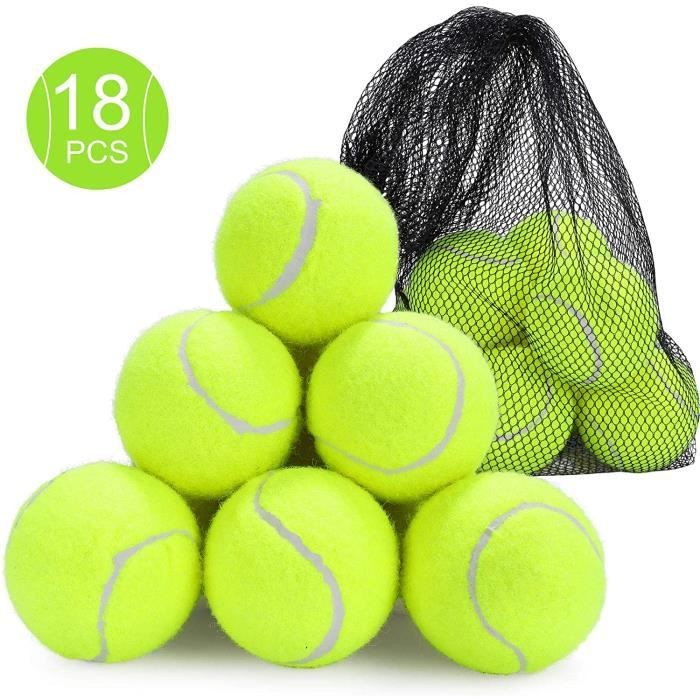 Fostoy Balles de Tennis, Paquet de 18 Balles Entraînement Tennis Durables avec Sac de Transport en Filet pour Chiens Entrainemen135