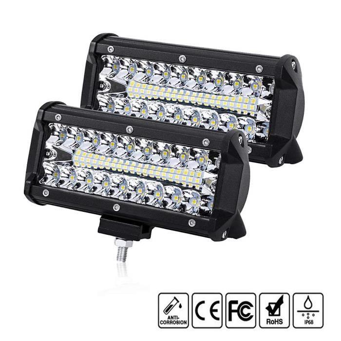 Comaie Projecteur Phare de Travail LED 12V 120W 7Inch Lampes de Travail Etanche IP67 Spot Flood Feux Antibrouillard LED 16000lm F