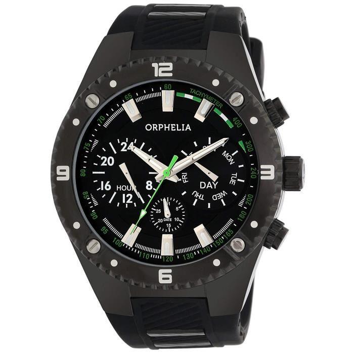 Orphelia - 86502 - Montre Homme - Quartz - Analogique - Aiguilles lumineuses - Bracelet Silicone noir