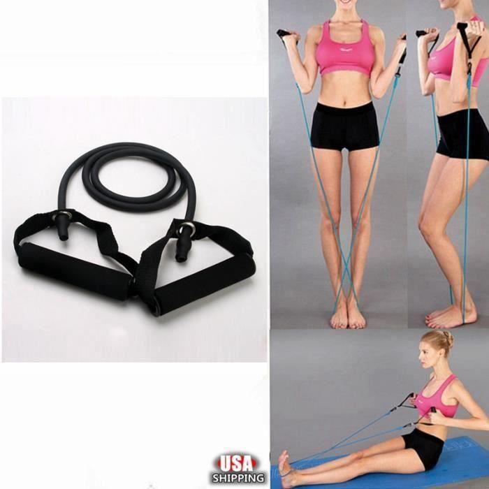 Élastique de résistance câble force fitness musculation 1.4M en latex de caoutchouc Noir FR73914