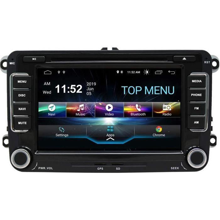 Autoradio stéréo Android 10.0,pour Volkswagen Skoda Lecteur DVD Radio 7- Écran Tactile HD Navigation GPS avec Bluetooth 2 Go + 16 Go