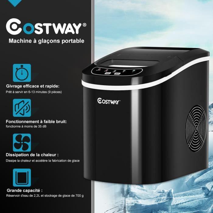 COSTWAY Machine à Glaçons Portable Machine pour Glace Réservoir 2,2L,12kg/24H 9 Glaçons par 6-13Min, pour Maison,Bureau,Café Noir