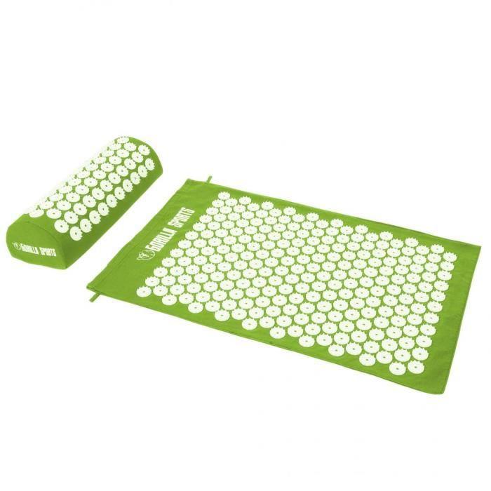 Tapis d'acupression avec coussin et sac de transport - tapis de fakir - tapis de massage - 68 x 42 x 2,5 cm - Couleur : vert pomme