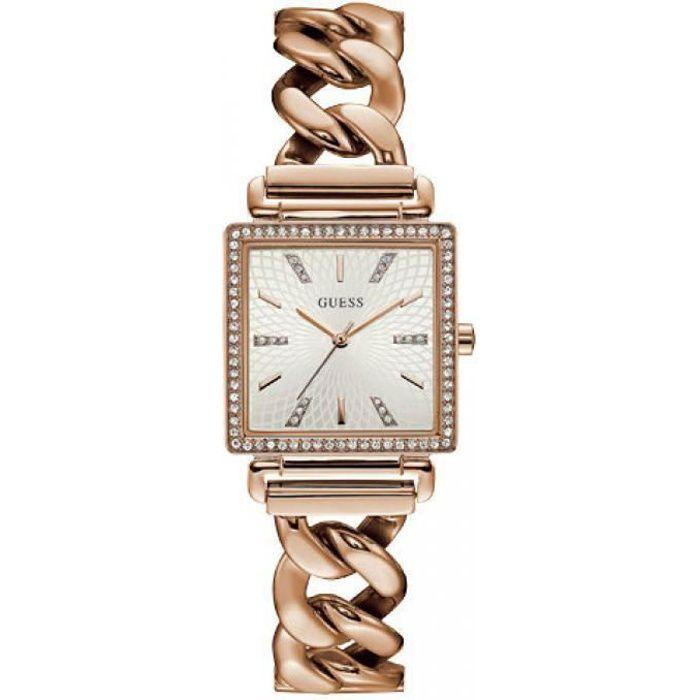 montre guess w1030l4 - montre carré cristaux or rose femme