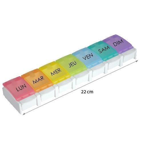 Pilulier semainier ergonomique et facile HESTEC - 1 compartiment par jour - 22 x 5,5 x 2,5 cm