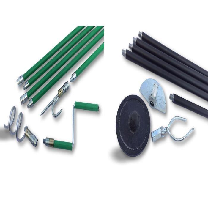 Kit combo cannes de curage déboucheur canalisations - Ø 45 à 95 mm - Débouchage ou curetage par rotation système kibloc et principe