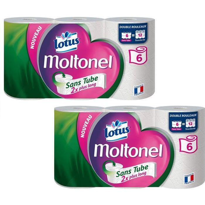 LOTUS Papier toilette Moltonel - Sans tube - 3 épaisseurs - 6 rouleaux - Blanc