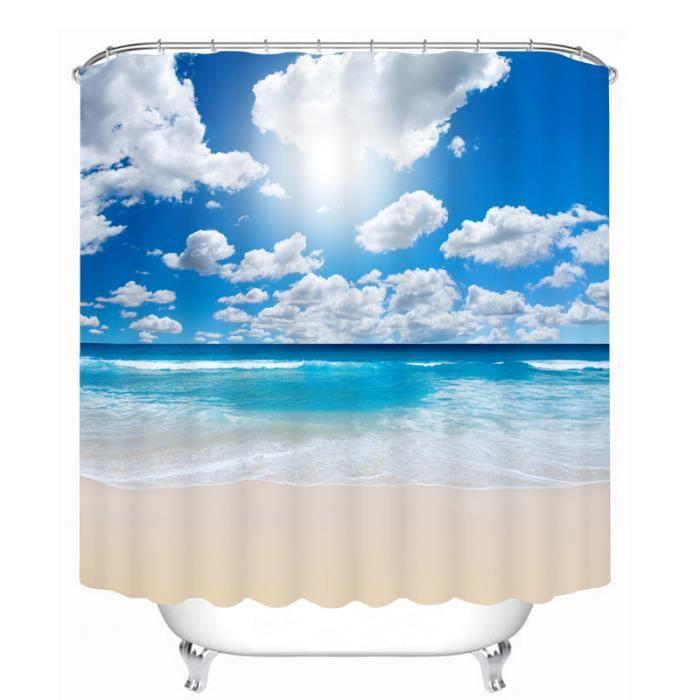 Rideau de douche paysage de la mer 3D effect imperméable 180 x 200 cm