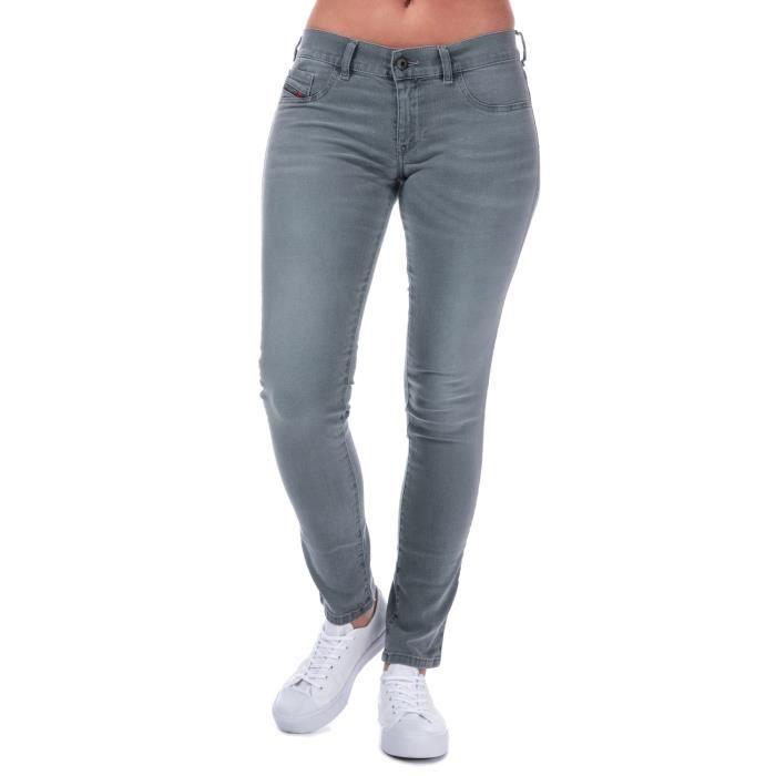 Diesel Jean Livier Skinny Gris Femme