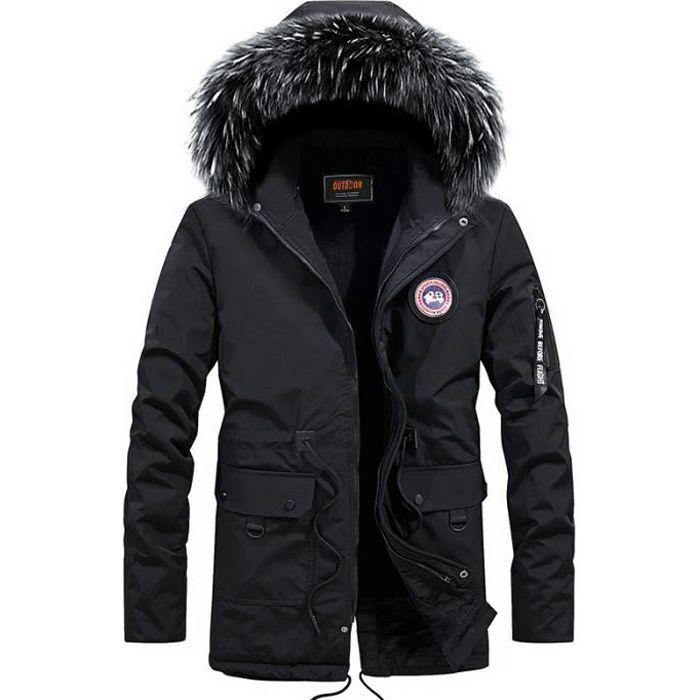 Manteau Homme de Marque à capuche detachable fourrure synthétique Manteau Homme à poches multiples Manteau épaississant Manteau