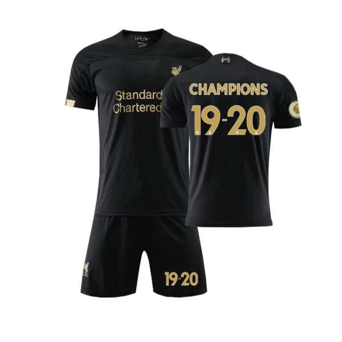 Premier League Liverpool 19-20 Gardien de but Jersey Maillots Foot et Shorts de Football Homme-Enfant-Noir