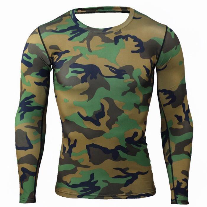 Combinaison de Compression Pour Homme Séchage Ultra Rapide Tee Shirt À Manche Longue De Running Fitness Gym Tops,Vert2