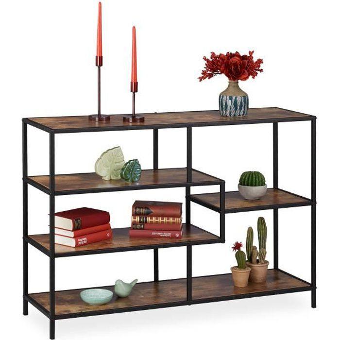 Relaxdays Etagère droite vintage, design industriel, Meuble ouvert, aspect bois, métal, différents designs,marron-noir -