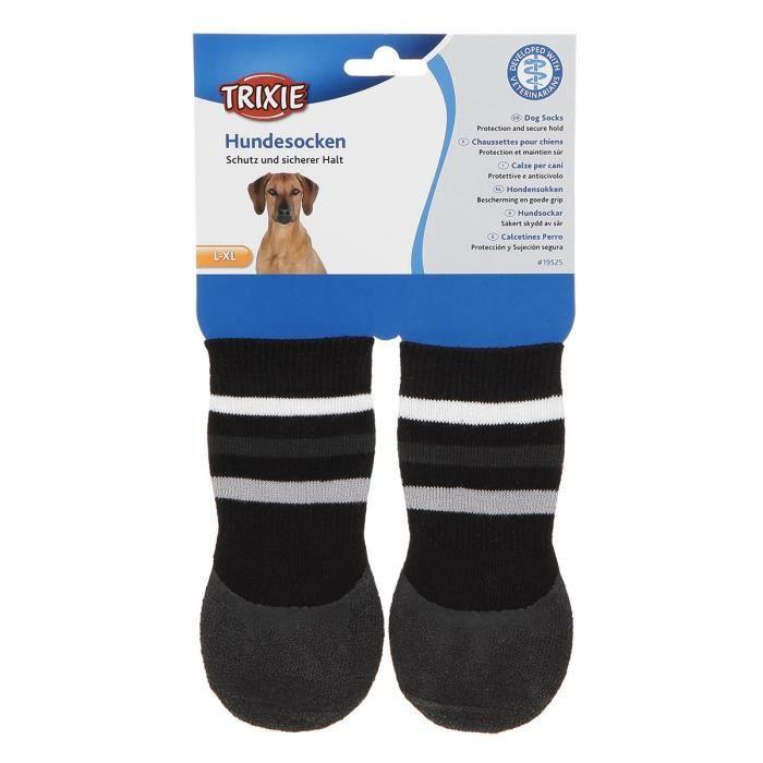 TRIXIE Lot de 2 Chaussettes antidérapant - L–XL - Noir - Pour chien