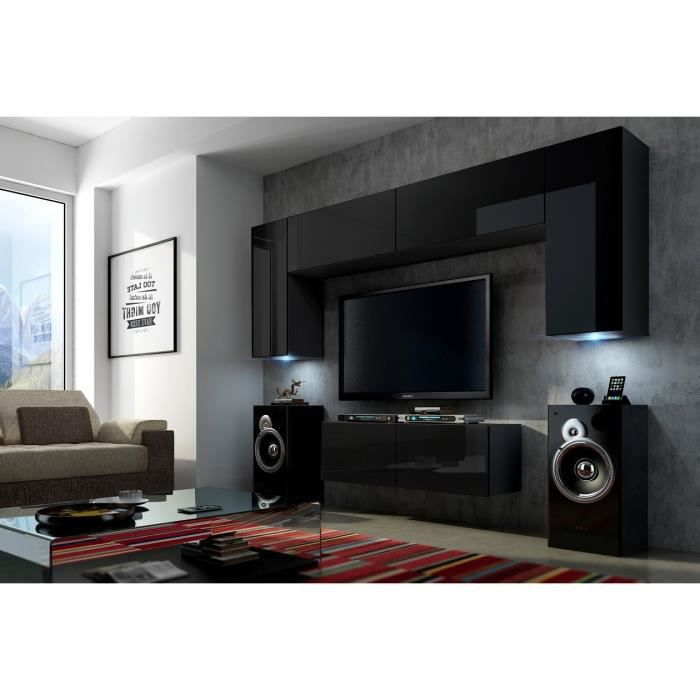 mur tv complet concept 2 black meilleur prix achat vente living meuble tv mur tv complet. Black Bedroom Furniture Sets. Home Design Ideas