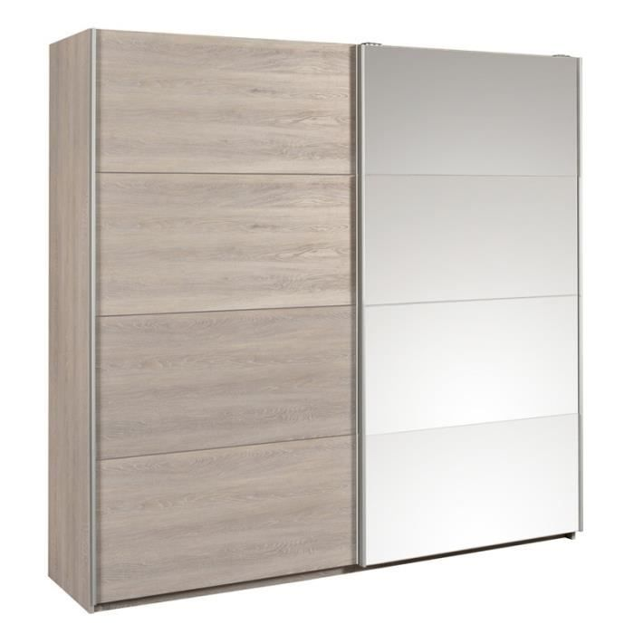 armoire 2 porte coulissante gris achat vente armoire 2. Black Bedroom Furniture Sets. Home Design Ideas