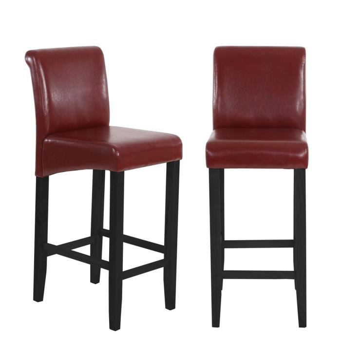 lot de 2 tabourets de bar simili cuir rouge brun achat vente tabouret de bar cuir. Black Bedroom Furniture Sets. Home Design Ideas
