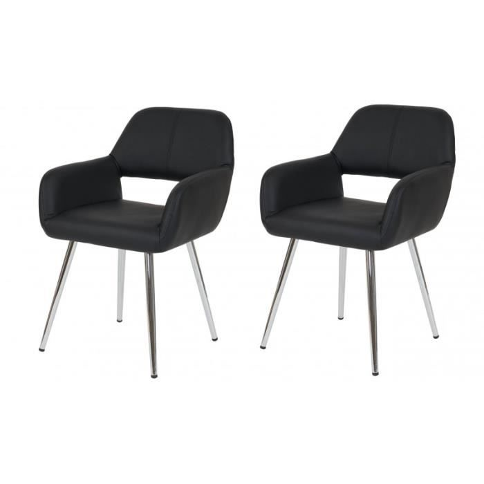 lot de 2 chaises de salle manger fauteuil r tro pu noir. Black Bedroom Furniture Sets. Home Design Ideas