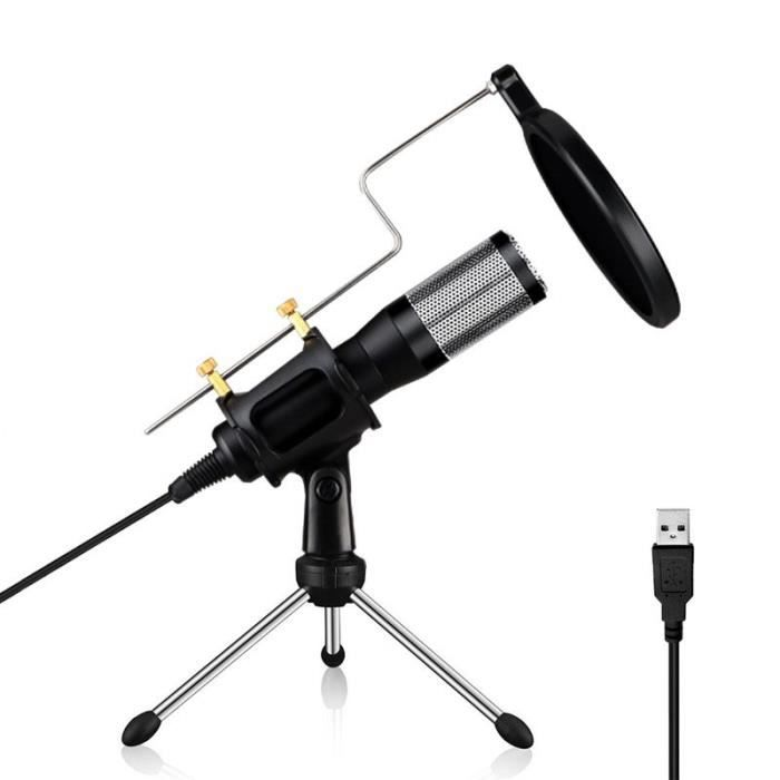 (#144) Usb Drive-free Condenser Microphone With Tripod Holder, Compatible Pc / Mac For Live Broadcast Show,(black)