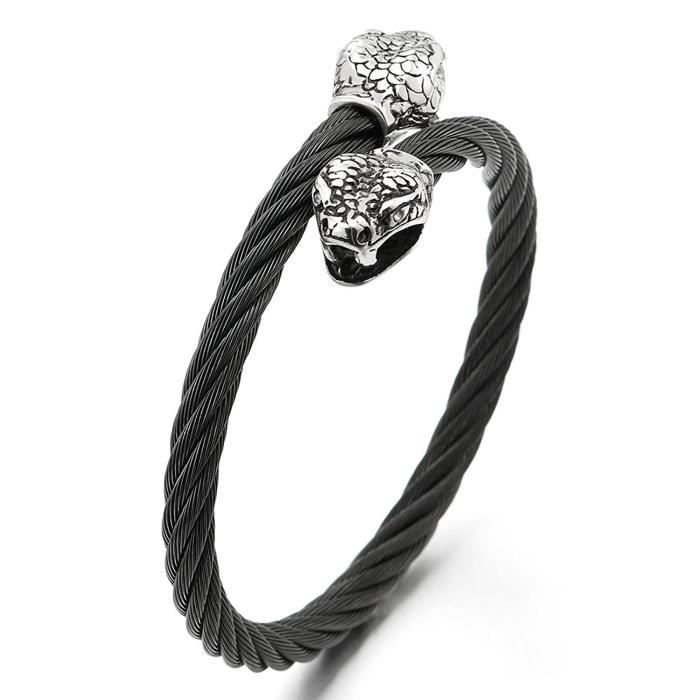 BRACELET - GOURMETTE Homme Serpent Tête Bracelet - Acier inoxydable Câb
