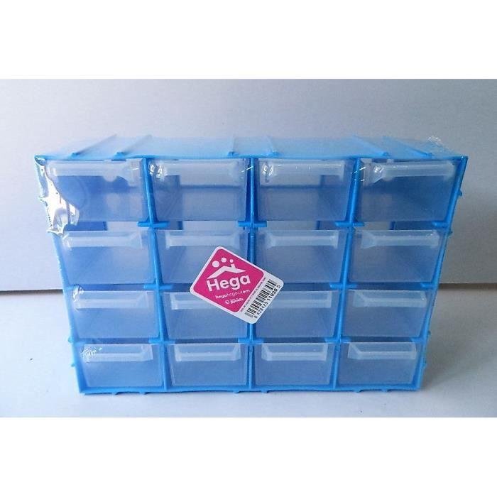 Petit Casier Rangement Plastique Bleu Boite 21 5x15cm 16 Tiroirs Ranger Vis Cdiscount Bricolage