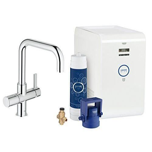 grohe mitigeur vier avec syst me de filtration d 39 eau r frig rant blue 31383000 import allemagne. Black Bedroom Furniture Sets. Home Design Ideas