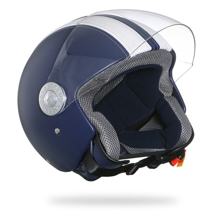 casque jet street pilot cuir rokx blanc bleu achat vente casque moto scooter casque jet rokx. Black Bedroom Furniture Sets. Home Design Ideas