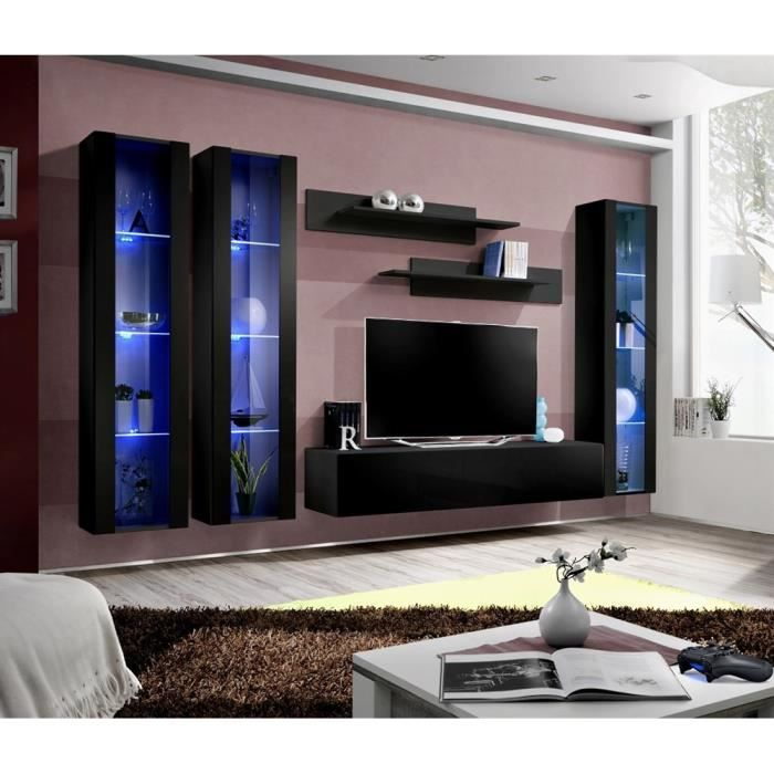 meuble tv fly c2 noir noir laqu achat vente meuble tv meuble tv fly c2 noir noir cdiscount. Black Bedroom Furniture Sets. Home Design Ideas