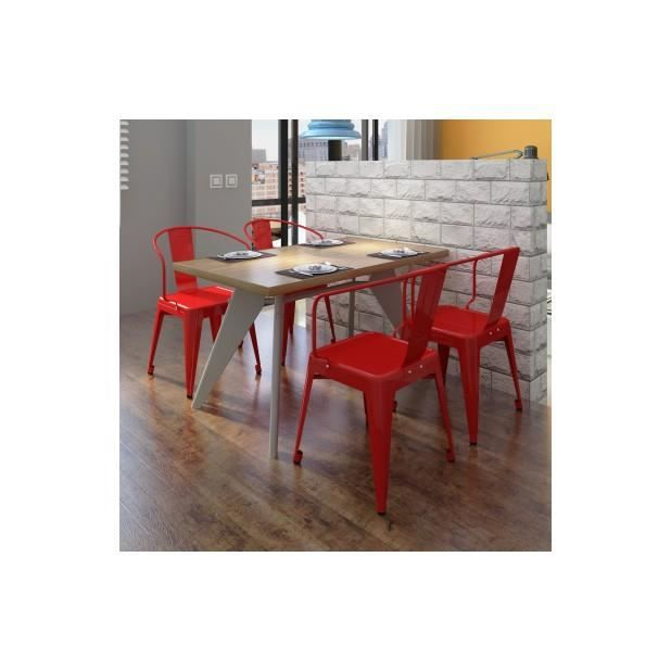 Superbe chaise de salle manger 4 pi ces rouge achat for Salle a manger rouge