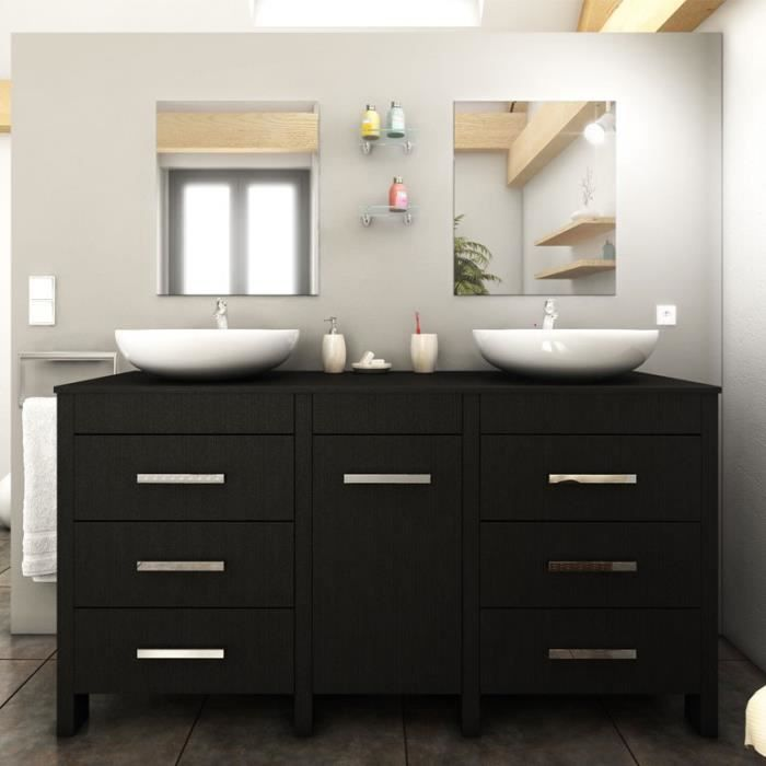 meuble sdb complet bois noir mora achat vente salle. Black Bedroom Furniture Sets. Home Design Ideas