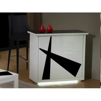 meuble de bar prisme mdf laqu blanc et noir achat. Black Bedroom Furniture Sets. Home Design Ideas