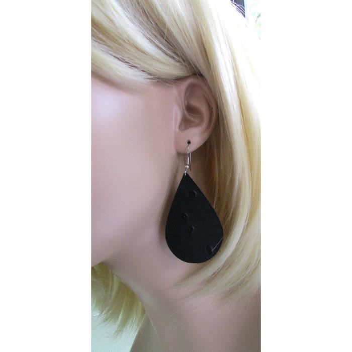 Womens Black Leather Earrings, Teardrop Earrings C2F09