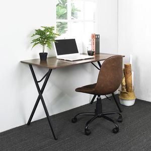 SECRÉTAIRE Table de Bureau Bois Pied Métal Noir Style Classiq