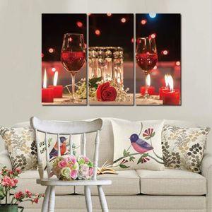 Vin rouge coupe bouteille mur art peinture vins toile ...