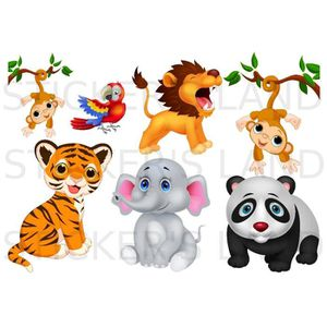 stickers animaux de la jungle achat vente stickers animaux de la jungle pas cher cdiscount. Black Bedroom Furniture Sets. Home Design Ideas