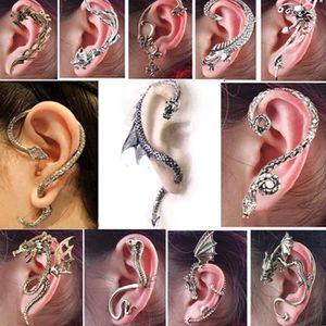 Boucle d'oreille 12pcs aléatoire gothique Punk Serpent Dragon Renar