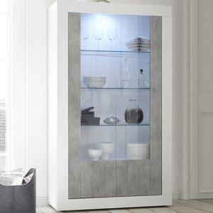 VITRINE - ARGENTIER Vaisselier moderne blanc et couleur béton gris MAB