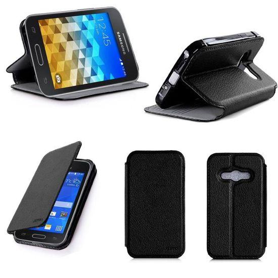 Etui coque Samsung Galaxy Trend 2 Lite noir - Housse pochette