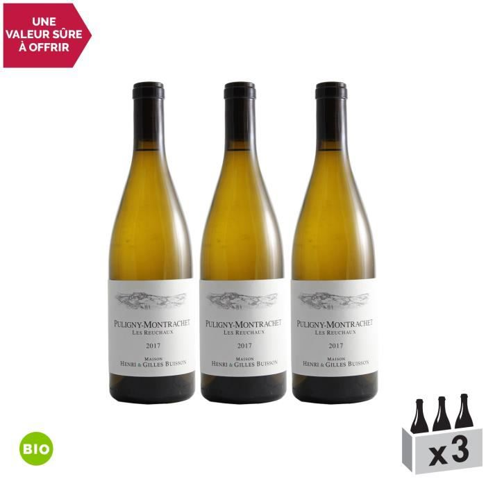 Puligny-Montrachet Les Reuchaux Blanc 2017 - Bio - Lot de 3x75cl - Domaine Henri et Gilles Buisson - Vin AOC Blanc de Bourgogne -