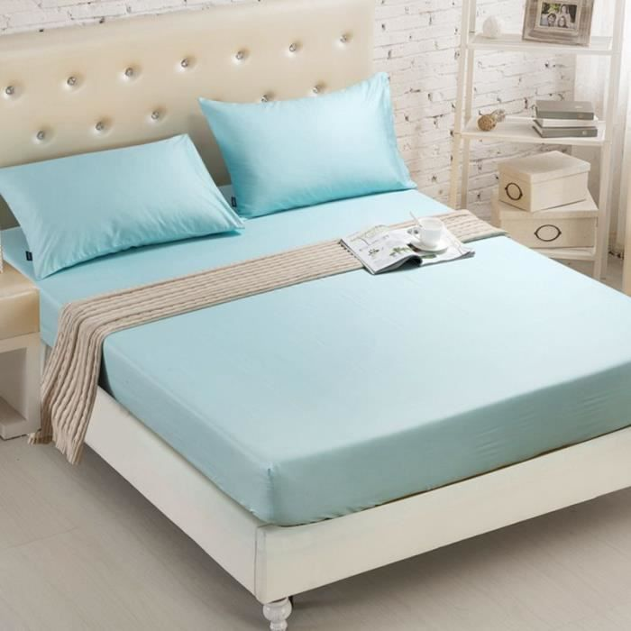 Drap Housse 150x200cm Bleu Clair Anti-Plis pour Protège Matelas Drap de Lit Uni Bonnet Elastique 20cm avec Deux oreillers