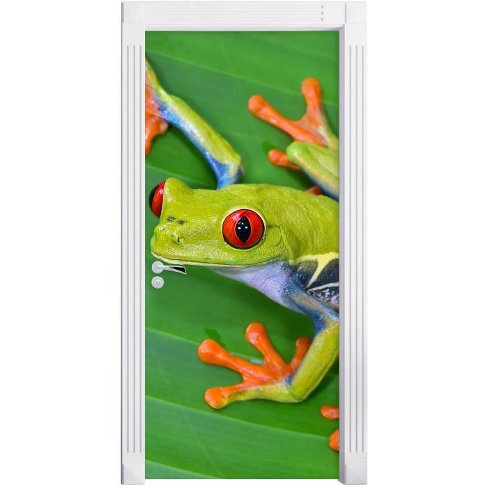 petite grenouille verte sur la feuille comme Murale, Format: 200x90cm, cadre de porte, porte autocollants, décoration de porte,