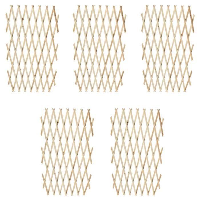 ♫4650 Lot de 5 Clôture en treillis Classique - Clôture de jardin Brise vue Bois solide 180x90 cm FNCM®