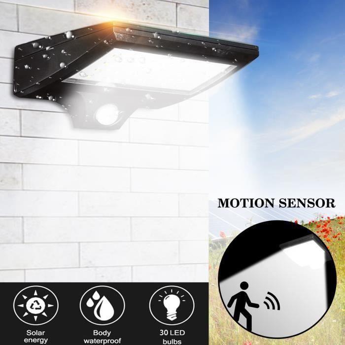 Solaire Lampe 30 LED Lumière Applique Détecteur Mouvement Extérieur Etanche Ve28690