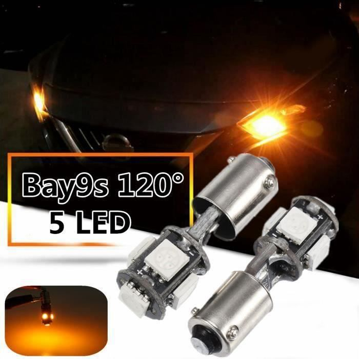 2Pcs BAY9S 120° 435 H21W 5 Smd Erreur Clignotant LED Clignotant Lumière Latérale L03242
