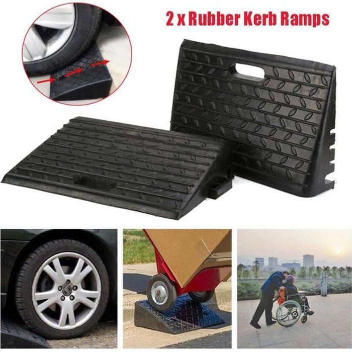 Rampe de bordure de trottoir Caoutchouc 2pcs - Rampe d'accès en caoutchouc scooter - 48,5 x 30 x 9,5 cm HB047 CHAUD