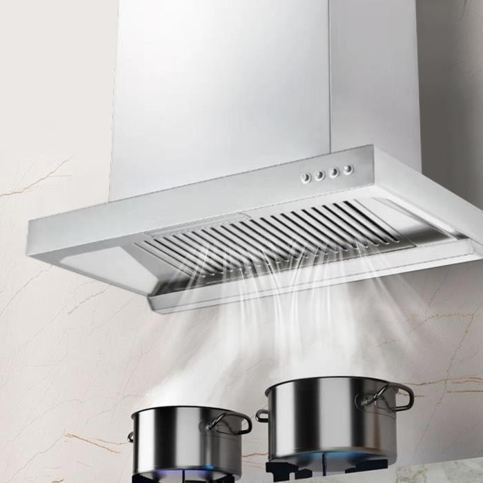 FLEURDUMAL✡LED Hotte murale à flux d'air Hotte aspirante Appareils de cuisine ménagers(prise UE 220 V)