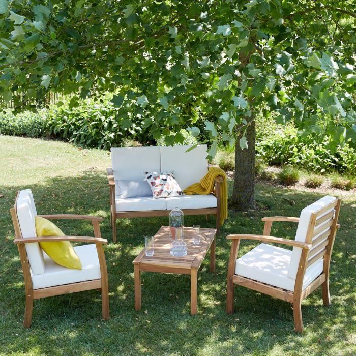Salon de jardin en bois d'acacia 4 places BDBD