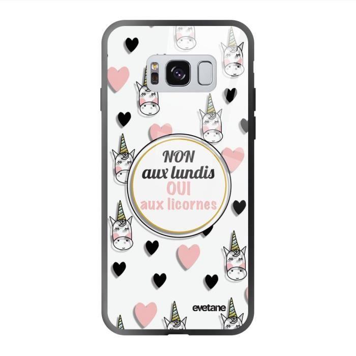 Coque en verre trempé Samsung Galaxy S8 noir Oui aux licornes Ecriture Tendance et Design Evetane
