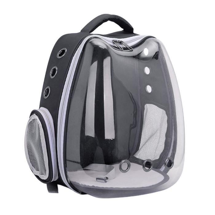 Sac à dos pour chat, sac de transport à bulles pour espace pour animaux de compagnie transparent, sac de transport portable Noir